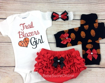 Trail Blazers Girl, Baby Basketball Outfit, Cheerleader Game Day Outfit