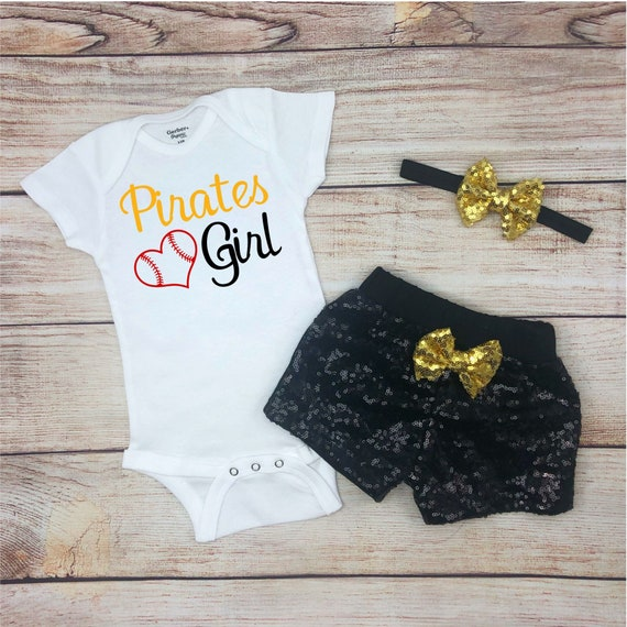 Pirates Girl Game Day Outfit Pirates Baby Outfit Pirates Baseball Baby Girl Clothes Pittsburgh Pirates Baby Bodysuit