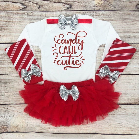 1312bbdef Candy Cane Cutie Baby Girl Christmas Outfit Baby s First