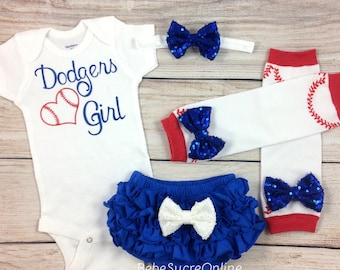 Los Angeles Dodgers Baby Girl Cheerleader Game Day Outfit