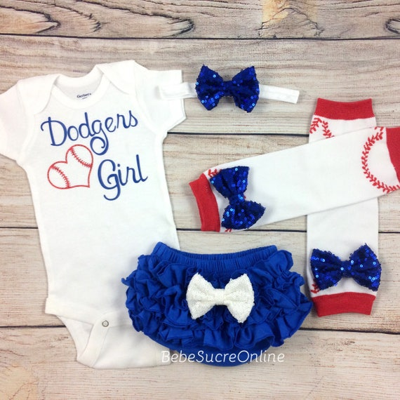 Los Angeles Dodgers Baby Girl Cheerleader Game Day Outfit  382bf349f5e