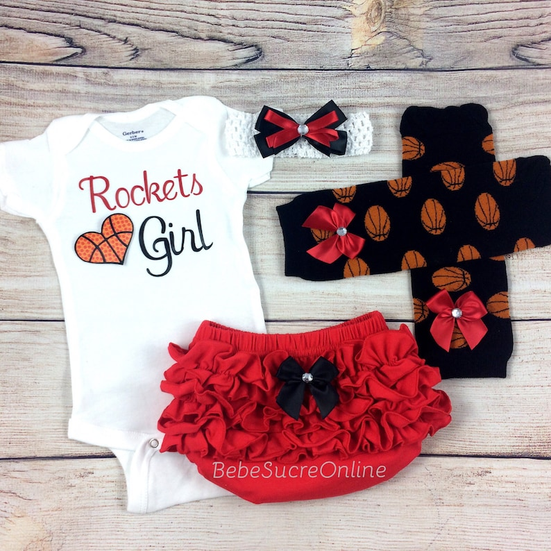 Rockets Girl Baby Basketball Outfit Cheerleader Game Day | Etsy