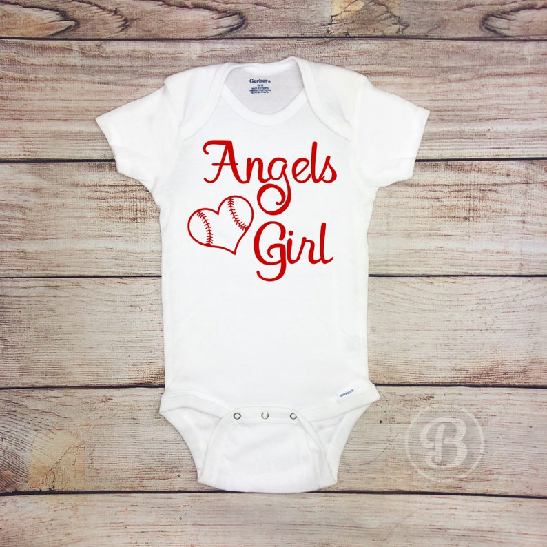 Baseball Baby Bodysuit Sparkly Baseball Baby Girl Clothes Angels Girl Baseball Game Day Outfit Red and White Baseball Baby Outfit