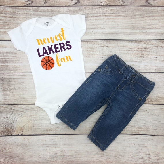 95a76b98171 Newest Lakers Fan Lakers Basketball Bodysuit Lakers Baby