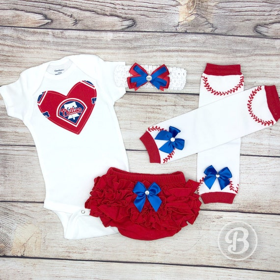 online store 19cc3 91f1a Philadelphia Phillies Baby Girl Game Day Outfit, Phillies Baseball Baby  Girl Clothes, Phillies Bodysuit, Phillies Baby Outfit