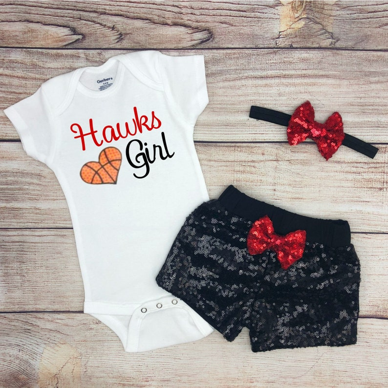 Black and Red Basketball Baby Outfit Basketball Baby Bodysuit Hawks Girl Game Day Outfit Sparkly Basketball Fan Baby Girl Clothes