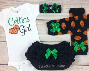 Celtics Girl, Baby Basketball Outfit, Cheerleader Game Day Outfit