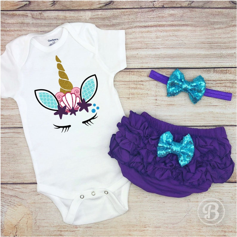 4cfeb3faec0 Mermaid Unicorn 1st Birthday Baby Girl Outfit