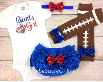 New York Giants Baby Girl Cheerleader Game Day Outfit