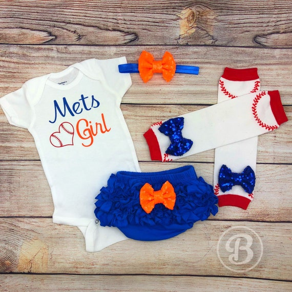 release date 61239 bd9e6 Mets Girl Game Day Outfit, New York Mets Baseball Baby Girl Clothes, Mets  Baby Bodysuit, NY Mets Baby Outfit