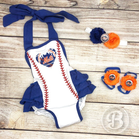 best website 0919d 275da NY Mets Baby Girl Romper, New York Mets Baby Clothes, Mets Baby Girl, Mets  Game Day Outfit
