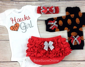 Hawks Girl, Baby Basketball Outfit, Cheerleader Game Day Outfit