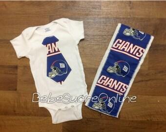 New York Giants Bodysuit and Burp Cloth