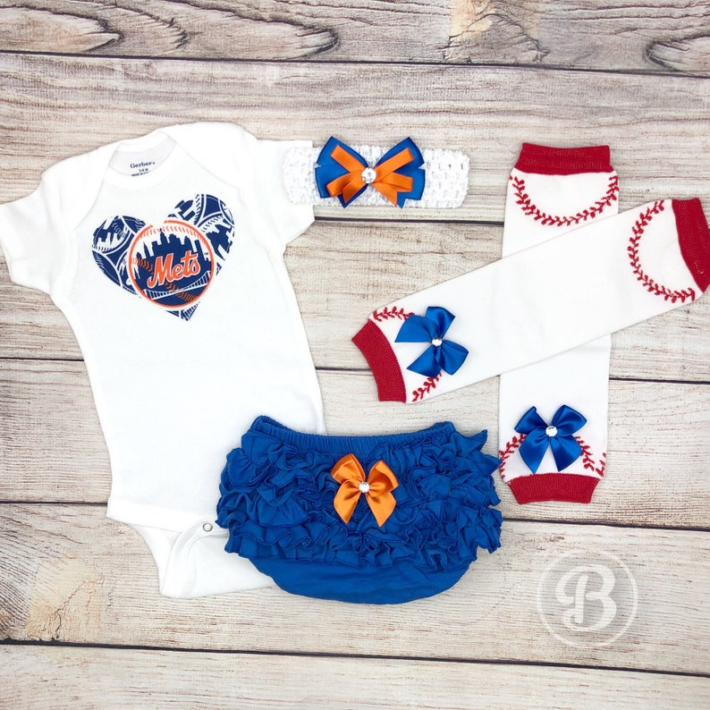 reputable site a90ce f4b70 New York Mets Baby Girl Game Day Outfit, Mets Baseball Baby Girl Clothes,  NY Mets Bodysuit, Mets Baby Outfit