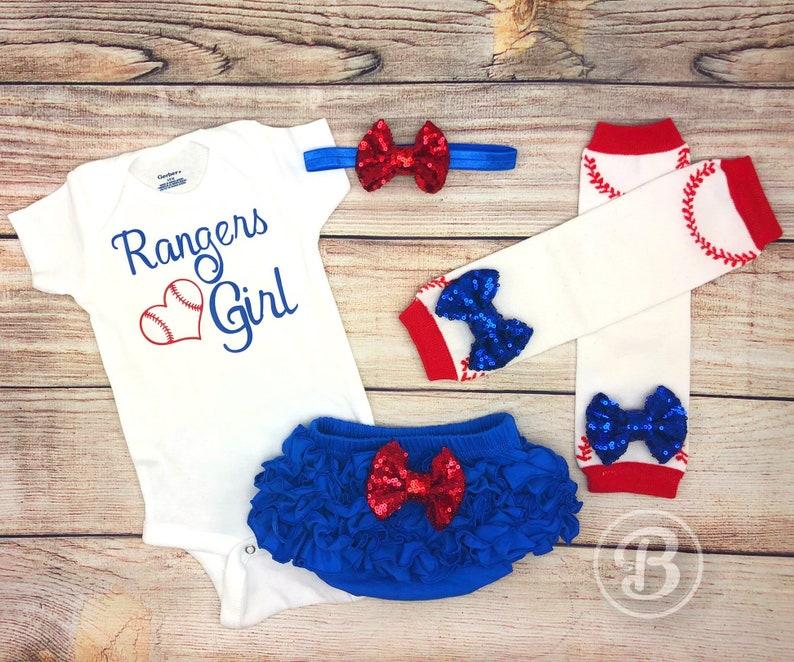 Rangers  Baseball Baby Girl Clothes TX Rangers Baby Outfit Rangers Girl Game Day Outfit Texas Rangers Baby Bodysuit