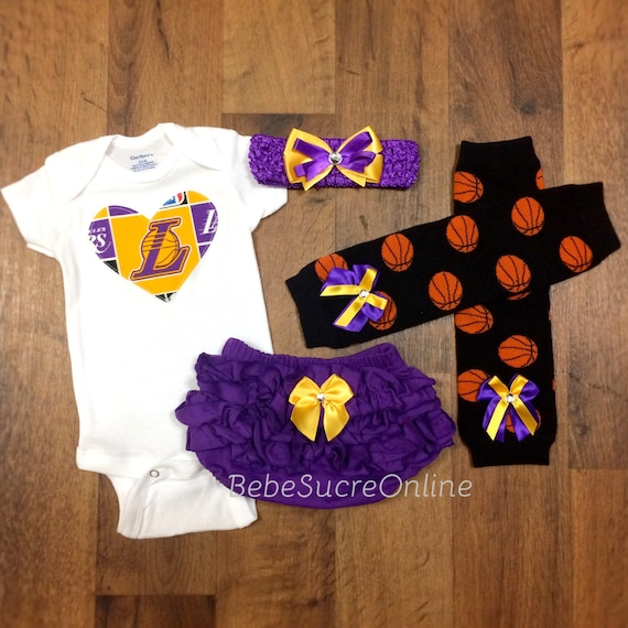 outlet store 9ebf6 cebf9 Los Angeles Lakers Game Day Outfit, LA Lakers Baby Girl Clothes, Lakers  Baby Girl Cheerleader Outfit, Lakers Bodysuit