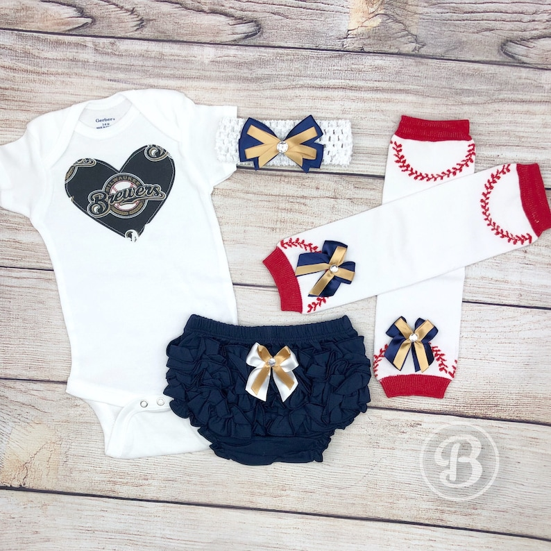 e677e5bf9 Milwaukee Brewers Baby Girl Game Day Outfit Brewers Baseball