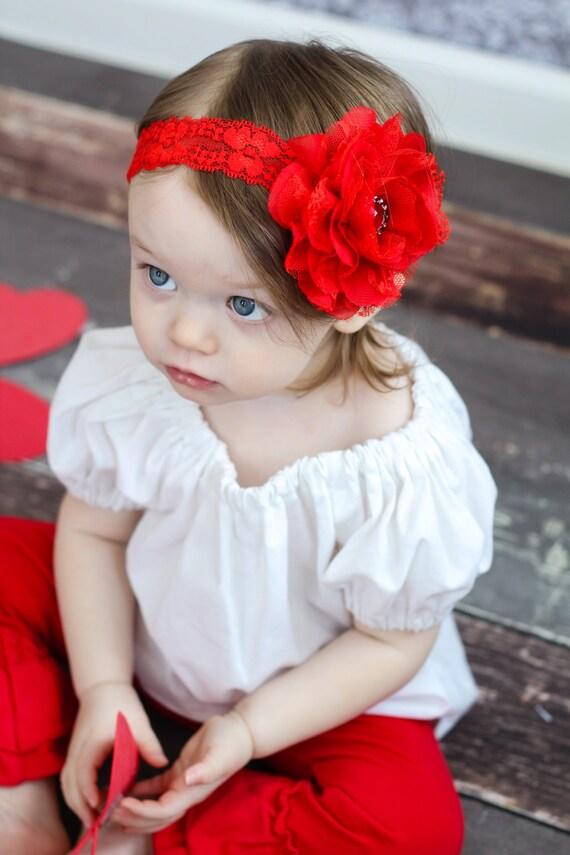 bandeau pour nouveau n douce dentelle rouge fleur en etsy. Black Bedroom Furniture Sets. Home Design Ideas