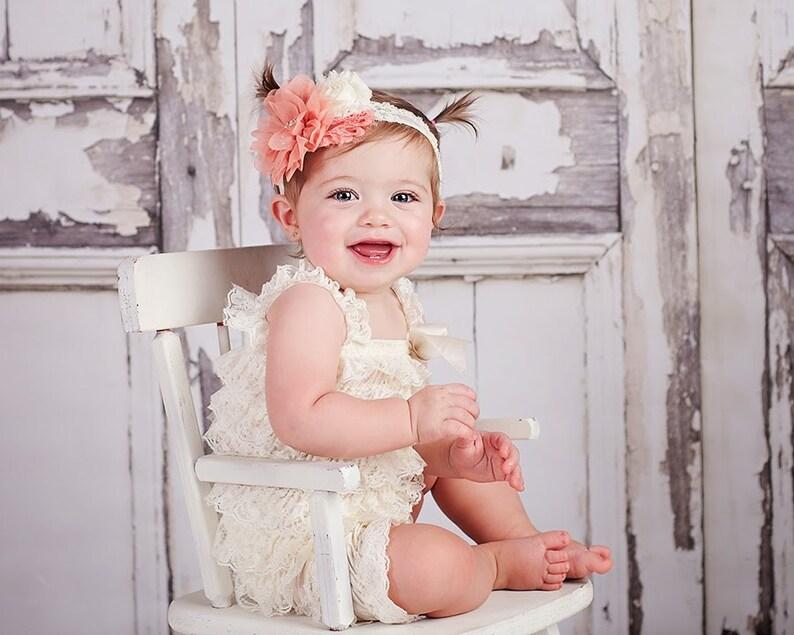 Vintage Peach Newborn Headband Baby Ivory Lace Baby Headband  3aa14a8e08b