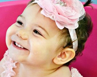 Pink Baby Headband Newborn Photo Prop Vintage Chiffon Lace Style Baby Girl Headband with Rhinestone