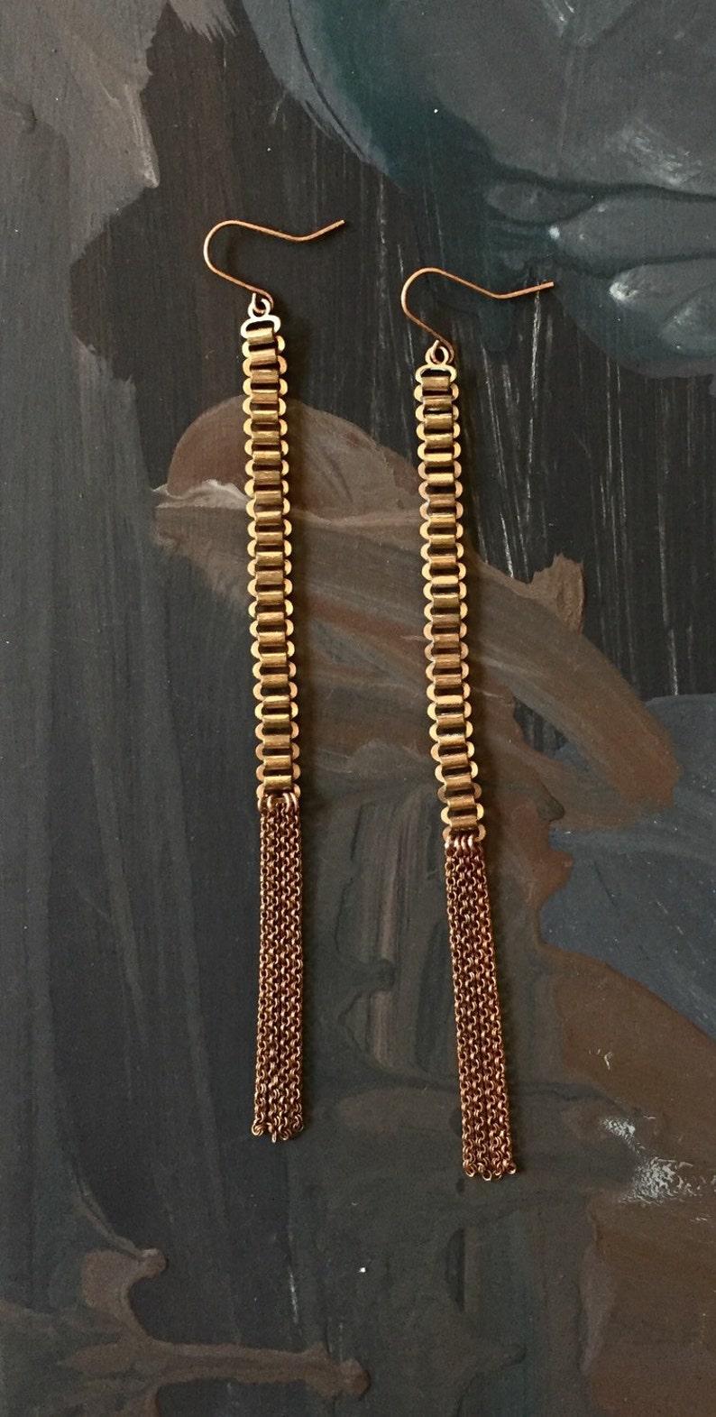 8b4628542 Long Fringe Tassel Earrings Dangle Ladder Copper Gold | Etsy