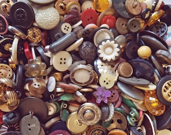 100 Vintage Buttons @ Six Pennies Each - 6-Penny Buttons - Mixed Bulk Buttons for Crafting ~ Thread Removed!
