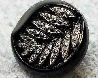 Pretty Vintage Black Glass Sewing Button ~ Graceful Leaf Design with Sparkling Faux Cut Steels in Silver Luster ~ just under 9/16 inch 14m