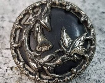 Sweet Antique Picture Button ~ Butterfly on Trumpet Flower Plant ~ Silver White Metal Pictorial over Black ~ 7/8 in 23mm ~ Sewing Button