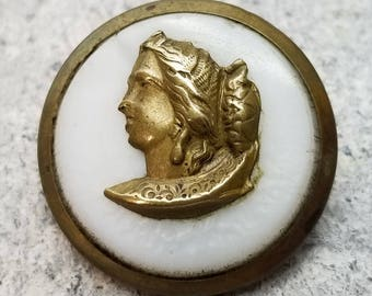 Classical Womans Head Brass Escutcheon on White Milk Glass ~ Hand Chased Collar Detail ~ Antique Victorian Picture Button ~ 1-1/16 inch 27mm