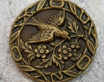 Dove of Peace ~ Gorgeous XL Antique Bird Picture Button ~ Stamped Brass Pictorial over a Wood Background ~ Coat Button ~ 1-1/2 inch 38mm