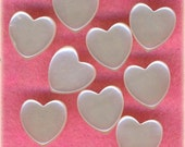 Set of 9 Diminutive Pearlized White Plastic Heart Sewing Buttons 3/8 inch 10mm