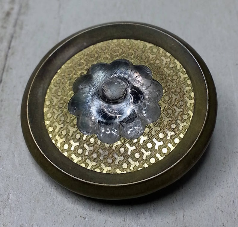 Antique Brass Coat Button ~ Jello Mold Clear Glass Center w All Over Pattern Engraved Gilt Surround ~ 1-18 inch 29mm ~ Grammys Buttons