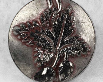 Antique Black Glass Picture Button ~ Grape Leaves Silver Luster ~ 5/8 inch 16mm ~ Pictorial Sewing Button