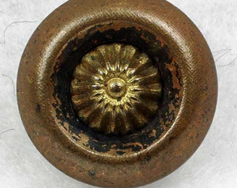 Vintage Gold Metal Sewing Button with Black Antiquing ~ 1/2 inch 13mm ~ Dimensional 3D Stylized Flower