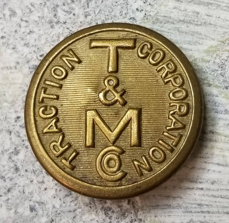 Rare Antique Brass T/&M Co Traction Corporation Uniform Button ~ Trenton Mercer County NJ Trolley ~ Superior Quality Backmark ~ 78 inch 23mm