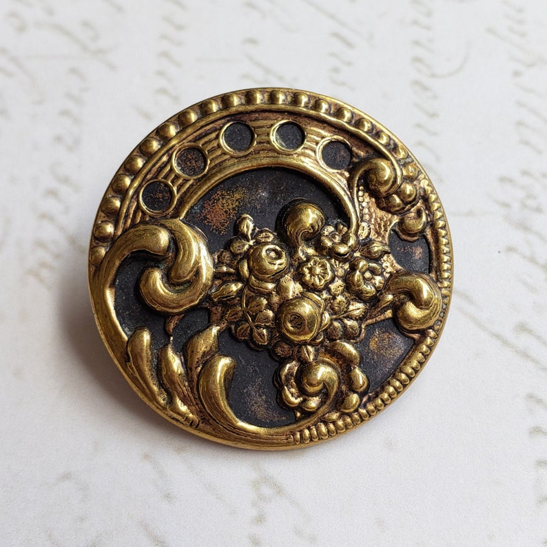 Large Antique Pierced Brass Flower Button ~ Floral Bouquet /& Scrolls over Tinted Background ~ 1-516 inch 33mm ~ Coat Button