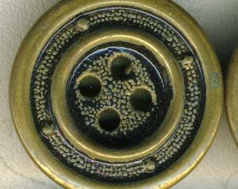 Set of 4 Vintage Antique Gold Metal Sewing Buttons ~ Steampunk Industrial Look ~ 7/8 inch 23mm ~ Stylized Porthole Design