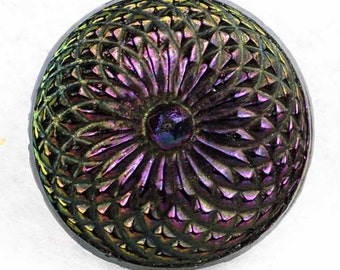Striking Antique Black Glass Button Iridescent 2-way Pinwheel ~ 11/16 inch 17mm ~ Brass Hump Shank ~ Sewing Button