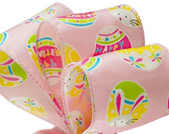 """5YDS Colorful Pink Easter Bunny Chicks & Eggs 2-1/2"""" Wired Edge Satin Ribbon (FREE SHIPPING!)"""