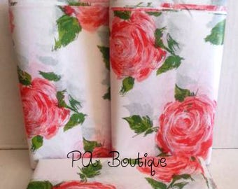 "Beautiful Coral ""Cottage Rose"" Floral Tissue Paper Gift Wrapping 15""x20"" Sheets (Free Shipping!)"
