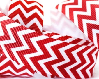 Red Wired Christmas Ribbon  White Zig-Zag Edges  2-1//2 in x 16 ft Soft Acrylic