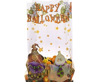 """Small Colorful """"HAPPY HALLOWEEN"""" 7x3x2"""" Print Cello Treat Goodie Snack Bags (Free Shipping!)"""