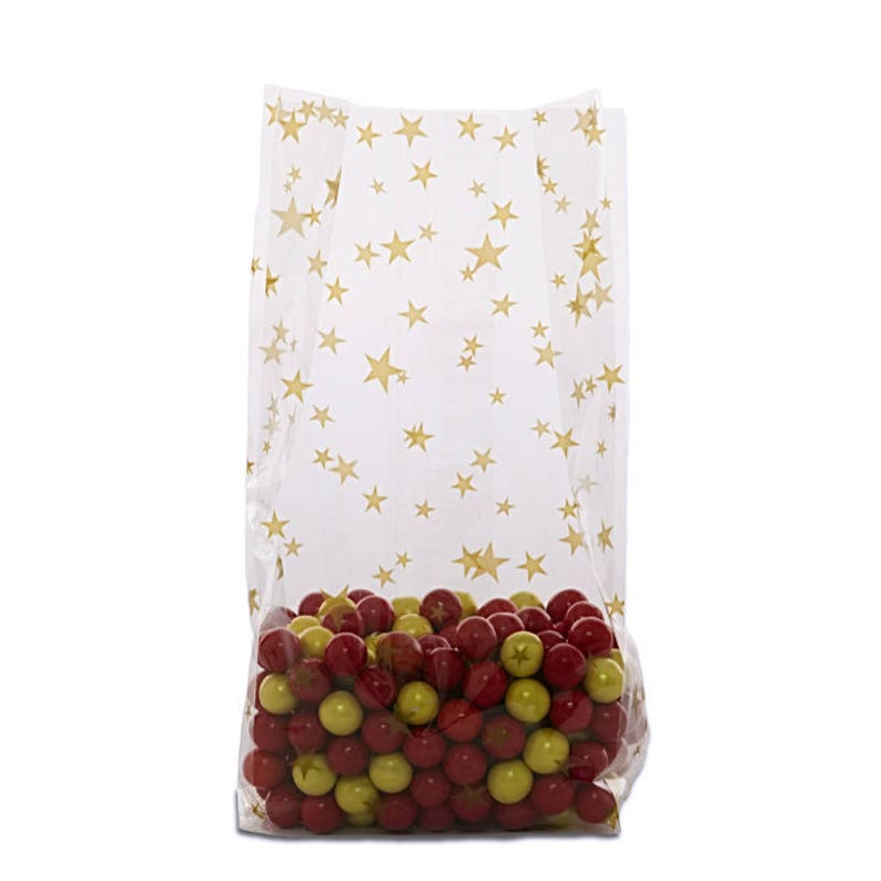 Medium GOLD STARS 4x2x9 Cello Cellophane Party Treat Food Snack Bags Free Shipping!