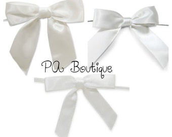 6ct. Pre-Tied WHITE Satin Gift Bows Ready to Use Ribbons (Free Shipping!)