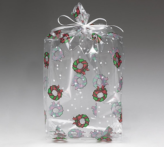 Large Christmas Wreaths Print Cello Treat Snack Goodie Bags Cellophane Baggies Free Shipping