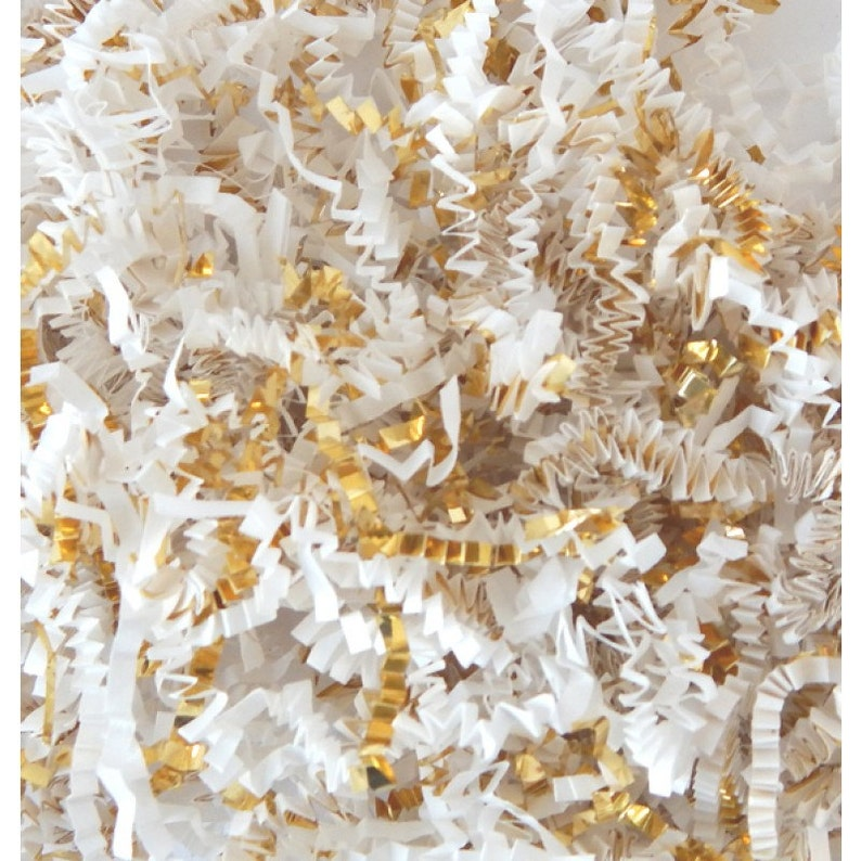You Choose the Size: WHITE & METALLIC GOLD Gift Basket Shred image 0
