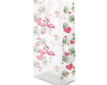 """Small Pink """"FLAMINGO KISSES"""" 7x3x2"""" Cello Cellophane Party Treat Food Snack Bags (Free Shipping!)"""