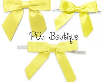 6ct. Pre-Tied YELLOW Satin Gift Bows Ready to Use Ribbons (Free Shipping!)