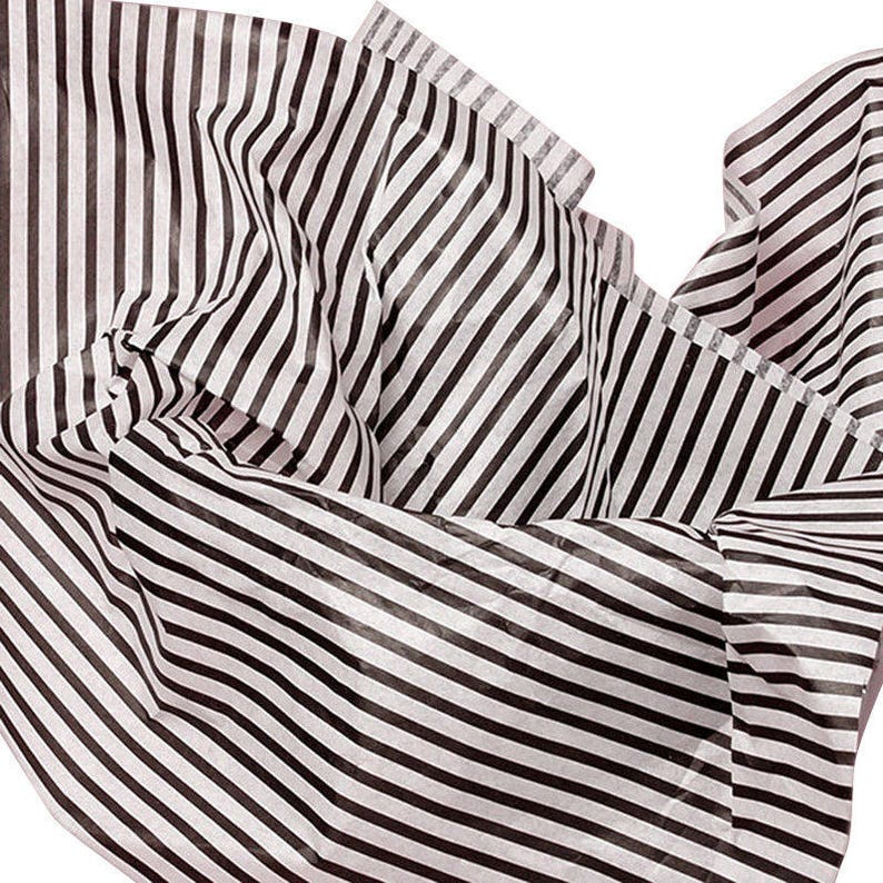 79a99040b63 Thin Black Stripes on White Tissue Paper for Gift Wrapping