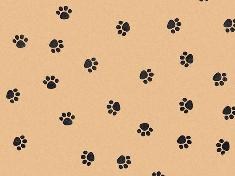 Free Shipping! Kraft Tan Brown and Black Paw Print Tissue Paper for Gift Bags 15x20 Sheets
